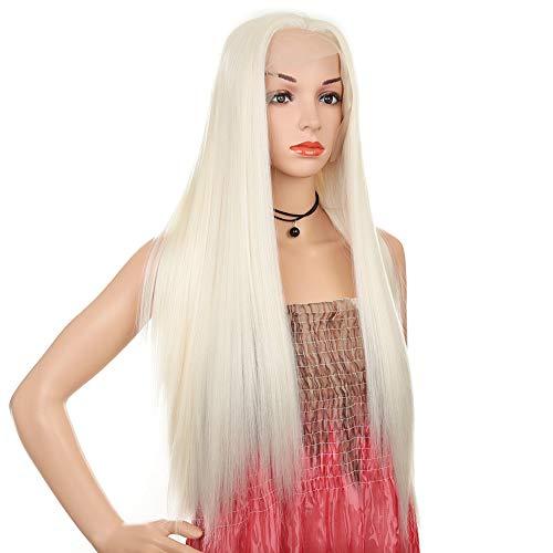 Perruque élégante en dentelle droite blanche longue pour Halloween, jeu de rôle, mascarade