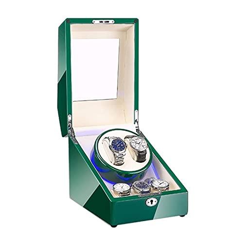 DFJU Caixa de enrolador de relógios e joias para 2 relógios automáticos + 3 espaço de armazenamento Verde Piano Pintura Acabamento embutido Luz LED Fonte de alimentação dupla