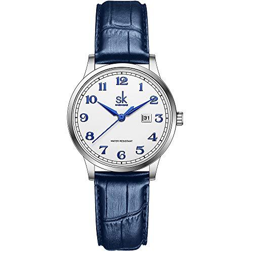 SK Relojes lassic Business para Mujer con Correa de Acero Inoxidable y Elegante Reloj con Calendario para Mujer (Arabic Number-Blue Leather)