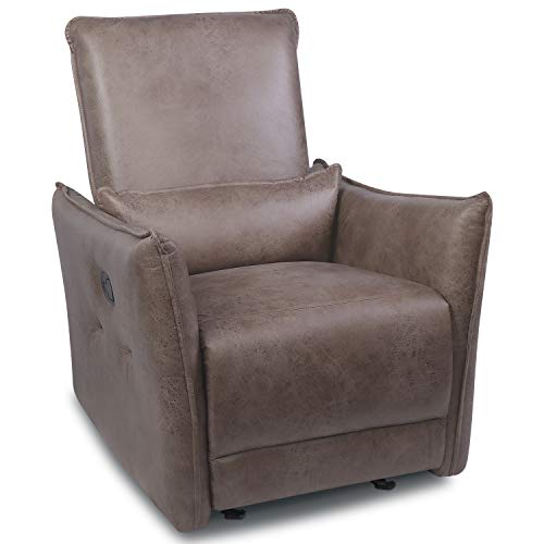 Fabric Recliner Chair, Rocker Glider Recliner Chair with Lumbar Support Pillow, Home Theater Seating Lounge Single Sofa Chair, Bedroom Living Room Adjustable Rocking Chair Recliner Sofa, Brown