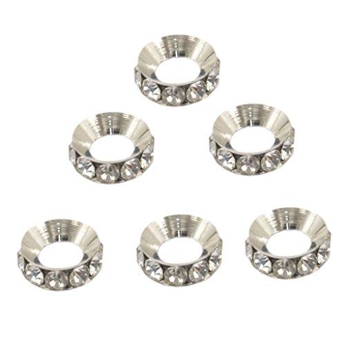 Sharplace 6 Uds Cuentas Espaciadoras de Diamantes de Imitación de Calidad Cuentas de Metal Redondas Chapadas en Plata de Cristal Transparente
