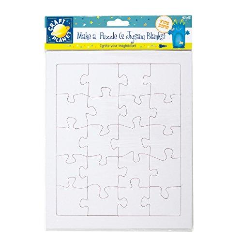 Craft Planet CPT6581301 Hemdenknöpfe 2A4, blanko Puzzle MAKE A Puzzle, weiß