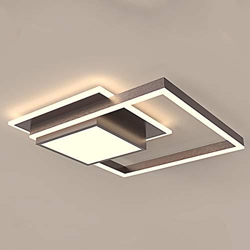 Plafón LED Dormitorio Regulable Luz Techo de Lámpara Cuadrado Moderno, Luces Salón con Mando Distancia, Lámpara Dormitorio de Metal y Acrílico, Luz LED para Oficina de Estudio, Marrón, 32W, L45 cm