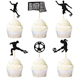 Ercadio 24 Pack Soccer Cupcake Toppers Black Glitter Football Cupcake Topper Sports Theme Soccer Party Baby Shower Cake Decoration