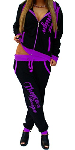Unbekannt Damen Jogginganzug Trainingsanzug Hose + Jacke 2tlg Set Fitness Arms Schwarz-Lila XL