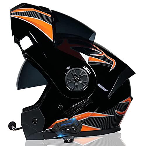 Casco De Moto Modular Bluetooth Integrado,Casco Unisex De Cuatro Estaciones Aprobado por ECE con Antivaho, Doble Sombra, Transpirable Y Cómodo Casco Anticolisión 55~62CM
