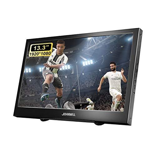 JOHNWILL tragbarer Monitor 13,3 Zoll IPS-Bildschirm Full HD 1920 x 1080 Monitor tragbare ultradünne Schwarze Metallschale Eingebauter Lautsprecher, Kompatibel mit Laptop,Standard HDMI Schnittstelle