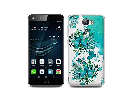 etuo Handyhülle für Huawei Y6 II Compact - Hülle, Silikon, Gummi Schutzhülle - Türkise Orchidee