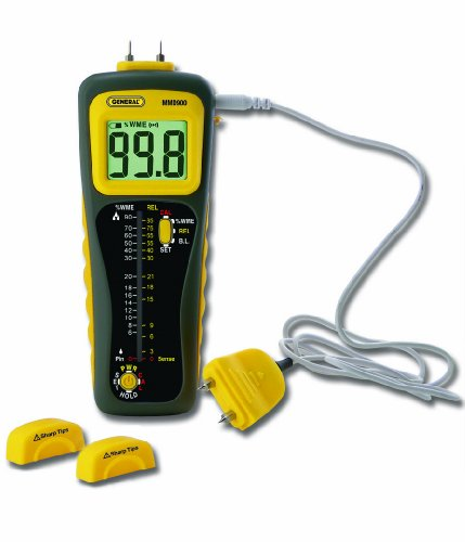 General Tools MMD900 Pin and Pinless Deep Sensing Moisture Meter with Remote Probe -