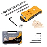 MulWark Premium Pocket Hole Jig System Kit - Including Two Holes Jig, Square Driver Bit, Hex Wrench, Depth Stop Collar, Step Drill Bit, Wooden Plugs and 5 Sizes Screws - Great Tool for Joinery Work