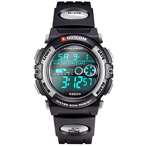 Socico Niños Digital Relojes para Niños Niñas Deportes–5 ATM Reloj Deportivo Impermeable al Aire Libre con Alarma Cronómetro,Relojes de Pulsera electrónicos para niños. (Gris)