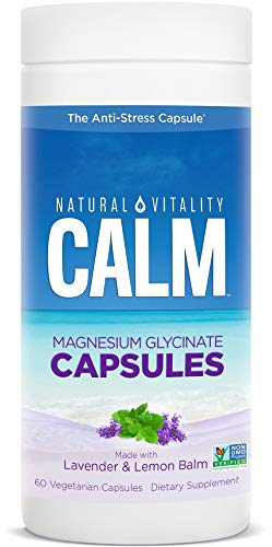 Natural Vitality Calm Capsules, Magnesium Glycinate Supplement with Lavender & Lemon Balm, Gluten Free, Non-GMO, 60 Count Vegan Capsules