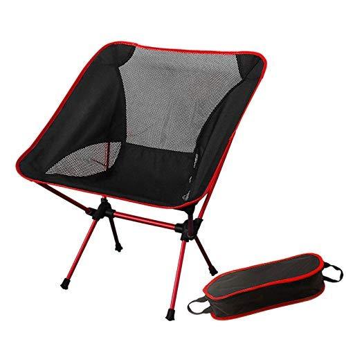 LHQ-HQ Acampa Portable Broma de aviación Ultraligera Pesca de Aluminio Silla de Ocio al Aire Libre Camping Plegable Silla de Camping al Aire Libre Silla de Tijera - Rojo
