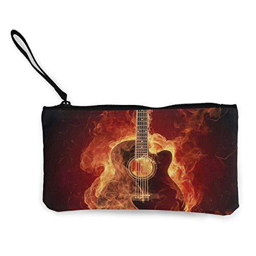 Burn It Gitarre Reißverschluss Leinwand Coin Purse Wallet Schminktasche Handytasche mit Griff