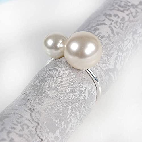 DAGONGREN 12 unids/Lote Personalidad Creativa Anillo de servilleta de Metal el botón de la Tostada servilleta Anillo de servilleta de Hebilla Occidental Comida de Perlas (Color : Silver)