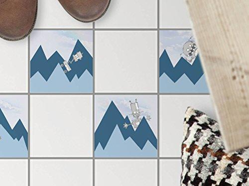 Foglio di plastica in pvc adesivo-autoadesivo | Piastrelle adesivo per pavimento - piastrelle cucina adesivo per bagno - ristrutturazioni bagni | 10x10 cm - Design Disegno montagna con robot - 1 pezzo (1x1)