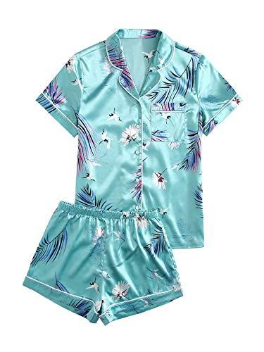 Floerns Women's Notch Collar Palm Leaf Print Sleepwear Two Piece Pajama Set Teal Green XL