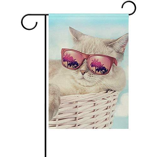 Not Applicable Doppelseitige Yard Garden Flag, die Katze in Sonnenbrillen Liegekorb Perfekt für Indoor Outdoor Garden Yard Dekoration (12
