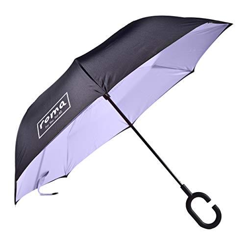Roma Paraguas invertido, paraguas de cierre inverso con bolsa de hombro, protección contra la intemperie con mango ergonómico y construcción independiente