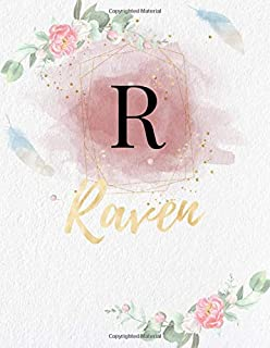 Raven: Personalized Writing Journal / Notebook for Girls and Women, Watercolor Floral Monogram Initials Names Notebook, Jo...