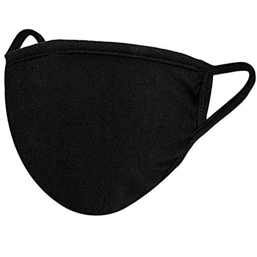 Masque de protection - 100% Coton pour Femme, Homme, Lavable Réutilisable (Noir, Homme/Femme)
