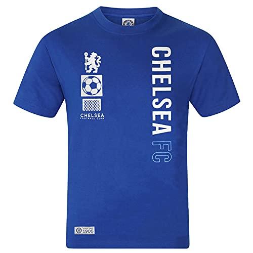 Chelsea FC - Camiseta Oficial Serigrafiada - para niño - Azul Real - Texto - 4-5 años