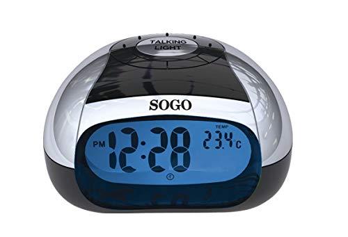 SOGO SS-3905 Reloj Despertador de Mesa con Voz Color Negro