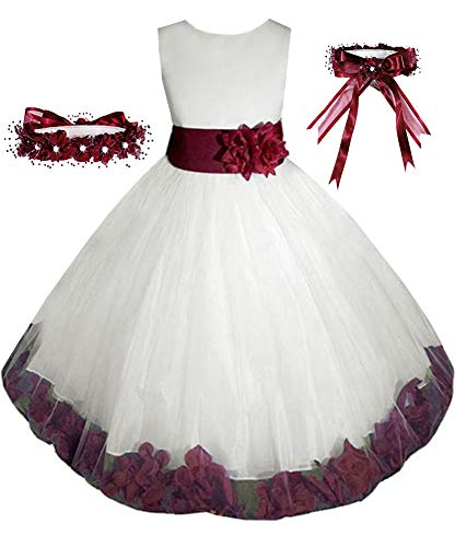 Little-Girls' Ivory/Burgundy Flower Girl Dress w/Free Matching Hair Wreath Sz 2