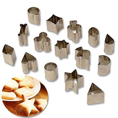 XYBW Outils D'estampage 15 Pcs/Set Biscuit Cookie en Acier Inoxydable DIY Moule Star Heart Poker Shape Cutter Fruit de Cuisson Moule Accessoires de Cuisine Moulle Gateau