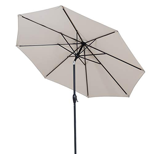 Tempera 9 Ft Patio Umbrella Outdoor Table Umbrella with Push Button Tilt and Crank 8 Ribs, Beige