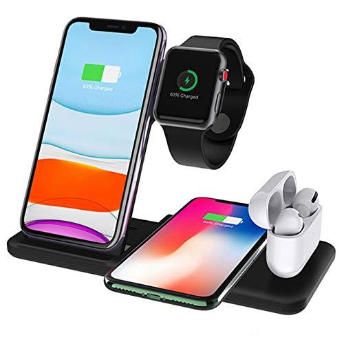 LTLJX Cargador Inalambrico Plus, 15W Cargador Carga Rapida, 4 en 1 Base Carga Inalambrica, Wireless Charger para iPhone 12/11 Pro/XS/X/SE/iWatch 6/5/4/3/ Cargador Airpods