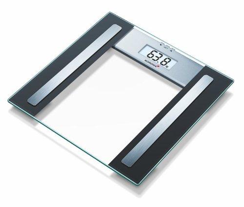 Korona Dolores Báscula de baño con indice de grasa corporal, escala hasta 150 kg, intervalos en gramos 100, transparente y negro