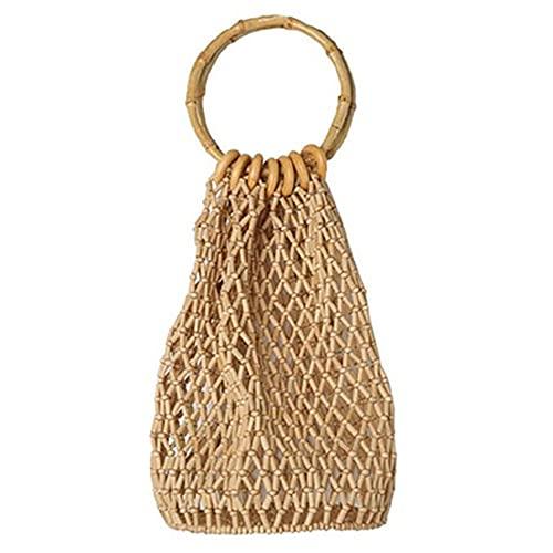 Hand-Woven Hollow Beach Bag Serial Bamboo Package, Vintga Bamboo Handbag, Handmade Tote Bamboo Purse, Straw Beach Bag For Women Or Girl