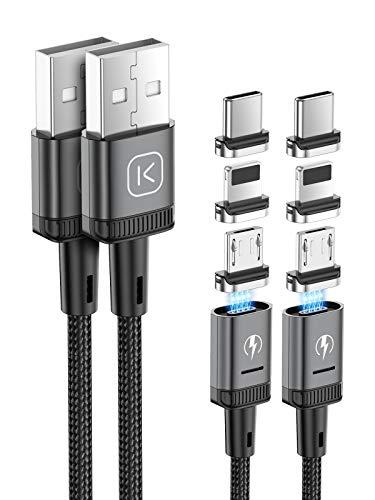 Kuulaa Cable de carga magnético 3 en 1, cable de carga rápida 3 A, trenzado con LED Light Magnetic USB cable de carga para micro USB, dispositivos tipo C y iProducts(2 Pack 1 M+2 M, Gris)