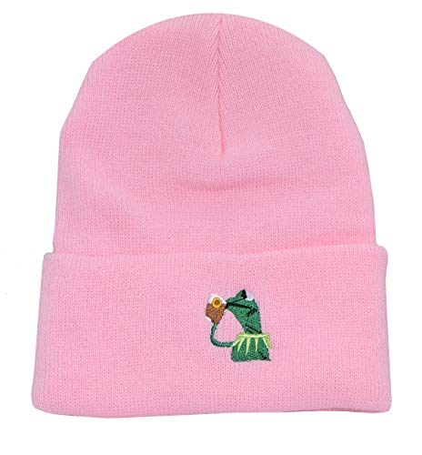 Winter Kermit The Frog Sipping Tea Beanie Warm Comfortable Soft Oversized Thick Cable Knitted Hat Unisex Knit Caps-Pink
