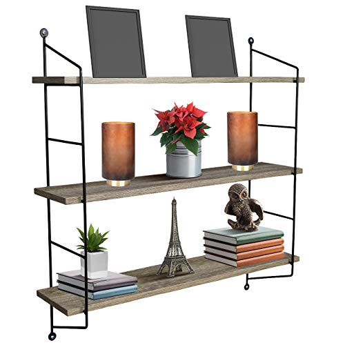 Industrial Pipe Shelving Wall Mounted,48in Rustic Metal Floating Shelves,Steampunk Real Wood Book Shelves,Wall Shelf Unit Bookshelf Hanging Wall Shelves,Farmhouse Kitchen Bar Shelving(4 Tier)