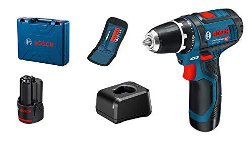 Bosch Professional 12V System Akkuschrauber GSR 12V-15 (inkl. 2x2.0Ah Akku, Ladegerät GAL 12V-20, 10-tlg.-Zubehör-Set, im Koffer)