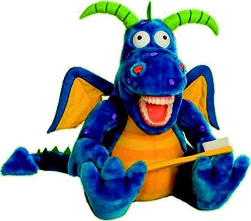 Zahnkönige Marioneta de peluche grande con forma de dragón, con cepillo de dientes gigante y vómitos de agua, aprox. 40-50 cm, decoración para niños