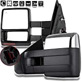 AUTOMUTO Towing Mirrors Left Driver Right Passenger Side Mirrors Power Adjusted Folding Heated Black Housing Turn Signal Light Puddle Light Chrome Compatible with For Ford F-150 Pickup Truck 2004-2015