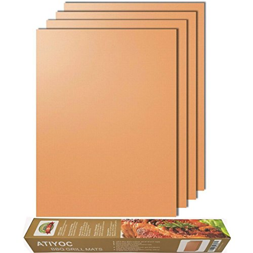 atiyoc Copper Grill Mat,Set of 4 Non-Stick and Heat Resistant Baking Mats for Charcoal,Electric and Gas Grill