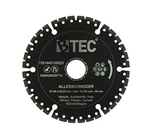 BTEC Profi Diamant-Trennscheibe Universal ALLESSCHNEIDER Trennscheibe 125mm x 22,23mm für Stahl, Eisen, Holz, GFK, Gummi, Glas etc