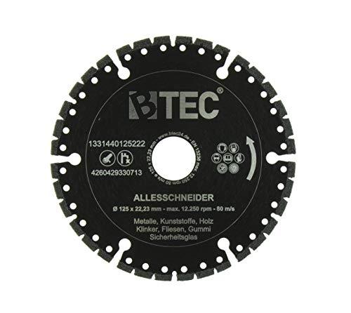 BTEC Profi Diamant-Trennscheibe Universal ALLESSCHNEIDER Trennscheibe 125mm x 22,23mm für Stahl, Eisen, Holz, Beton, GFK, Gummi, Glas etc