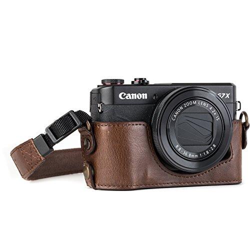 Media Funda de Piel con Correa MegaGear MG952 Ever Ready, para cámara Canon PowerShot G7 X Mark II, Color marrón