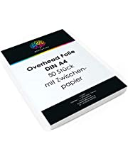 OfficeTree 50 vellen hoge kwaliteit overheadfolies - DIN A4 transparant - laserprinter kopieerapparaat OHP folie - voor de beste afdrukken- en projectiekwaliteit