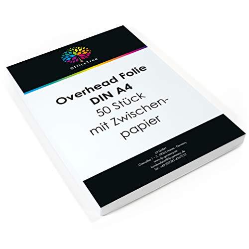 OfficeTree 50 Blatt hochwertige Overheadfolien - DIN A4 transparent - Laserdrucker Kopierer OHP Folien - für beste Druck- und Projektions-Qualität
