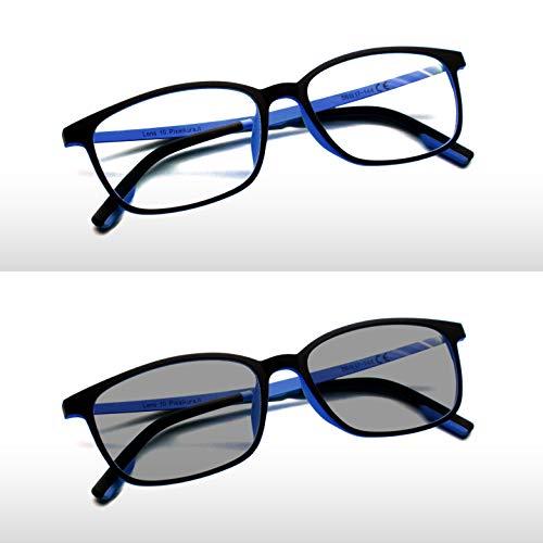 Pixel Lens PHOTOCROMIC Sunny- Gafas para Ordenador, Tablet,Gaming. contra EL CANSANCIO Ocular, Confort Visual, Montura Ligera, CERTIFICADA LUZ Azul - 41% Y UV -100% EN LA Universidad DE TURÍN