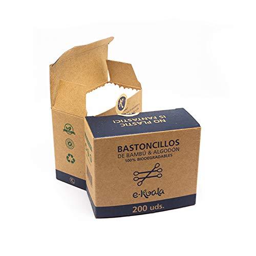 Bastoncillos de Oídos de Bambú y Algodón Orgánico e-koala| Pack de 200 | Bastoncillos 100% biodegradables