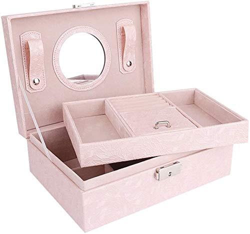 MQJ Caja de Joyería Organizador Showcase Locker Locker Joyería de Cuero Caja de Joyería Hecha a Mano Caja de Alenamiento Caja de Alenamiento Showcase Caja Portátil,Rosa