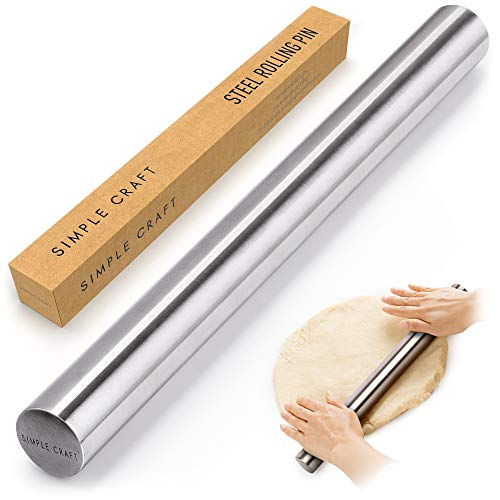 """Simple Craft Premium 16"""" Rolling Pin - Smooth Tapered Professional French Rolling Pin - Stainless Steel Rolling Pin For Making Cookies, Pastries, Pizza, Pies, and Pastas"""