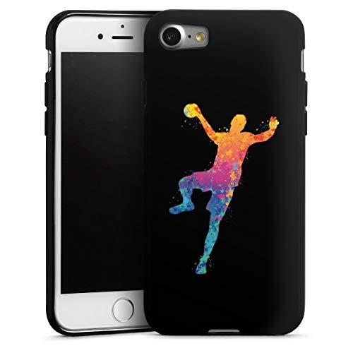 DeinDesign Silikon Hülle kompatibel mit Apple iPhone 8 Case schwarz Handyhülle Handball Farbklecks Sport
